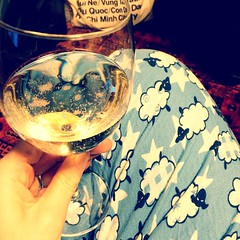 My kind of Friday night - pjs & sparkling wine. Thanks @ndbekah & @cbarbour