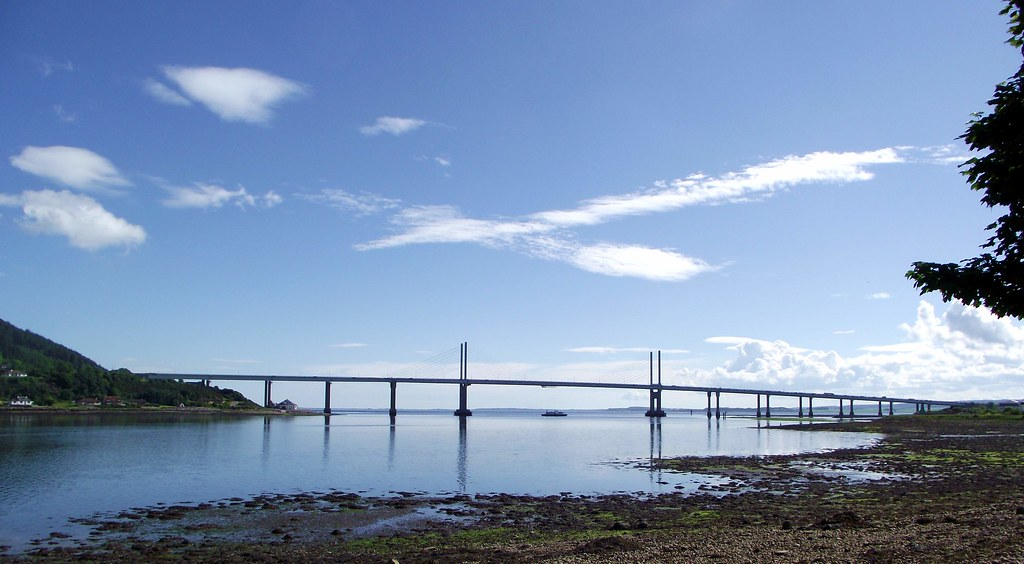 "Kessock Bridge with ""Rosehaugh"" beneath it in Beauly firth (Loch Beauly) Inverness Scotland"