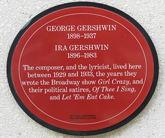 Photo of George Gershwin and Ira Gershwin red plaque