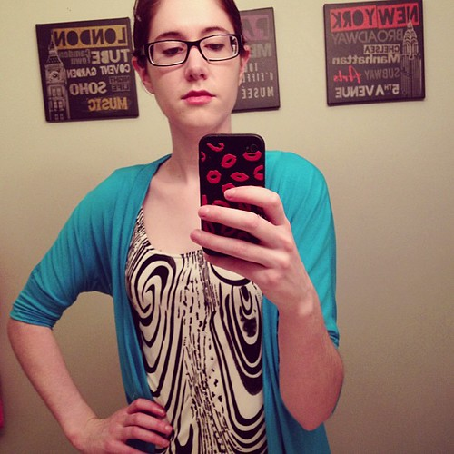 Swirly print dress and turquoise cardi #mmm13 #memademay13