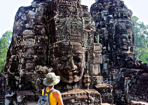 facing the Bayon in Angkor Thom