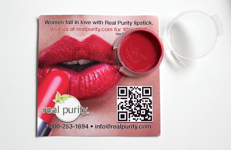 Real Purity lipstick (a very heavy swatch!), Rachel K CC Cream