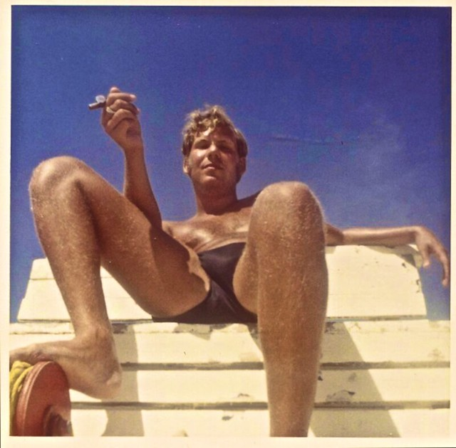 Vintage Photo - 1960s Lifeguard In Briefs Cut Speedo Smoking