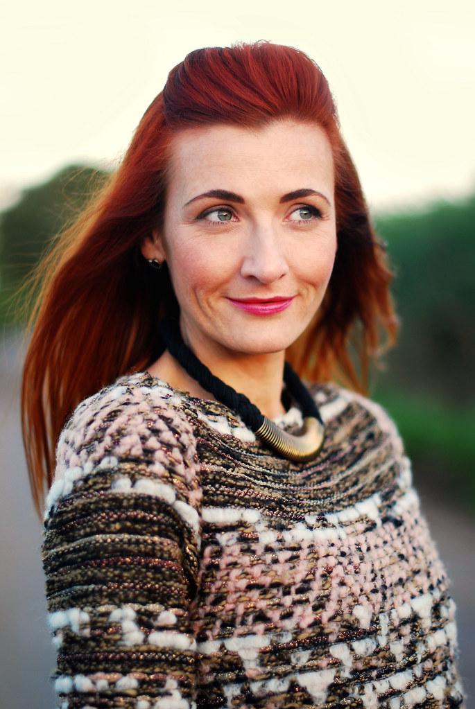 Zara sweater, red hair