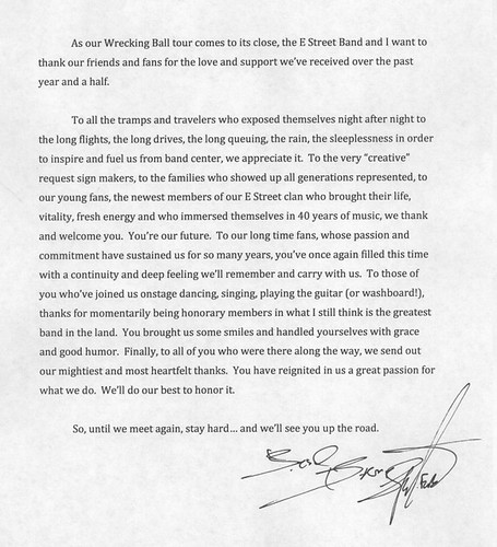 letter from Bruce Springsteen to his fans