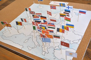 Europe Pin Flags Map