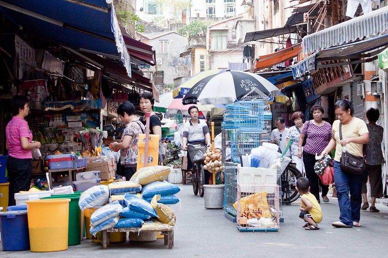 Mercado de los animales dentro del mercado de Qingping.