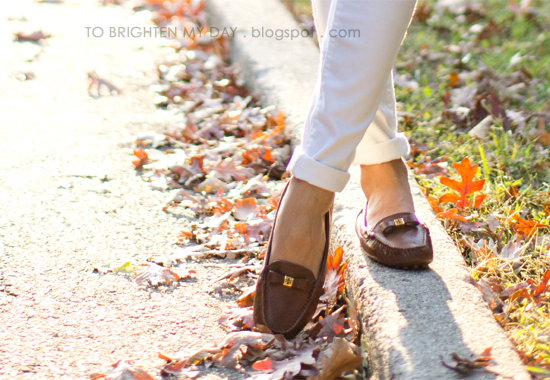 white jeans, brown loafers