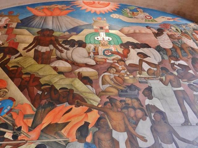 Quetzalcoatl inside the palacio nacional mexico 39 s white for Mural quetzalcoatl