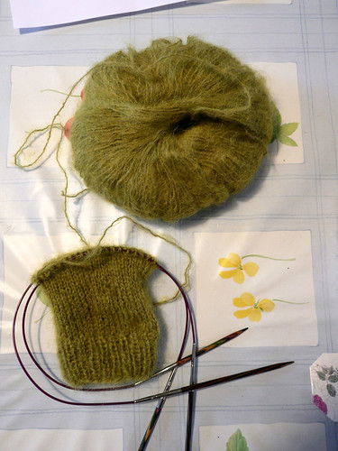 Olive green mohair