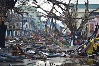 Debris lines the streets of Tacloban on Leyte Island