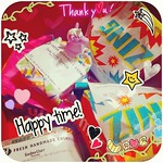 Good smelling gifts in bright coloured paper ; and the whole thing's topped with a unicorn~ <thanks friends! so spoiled!>