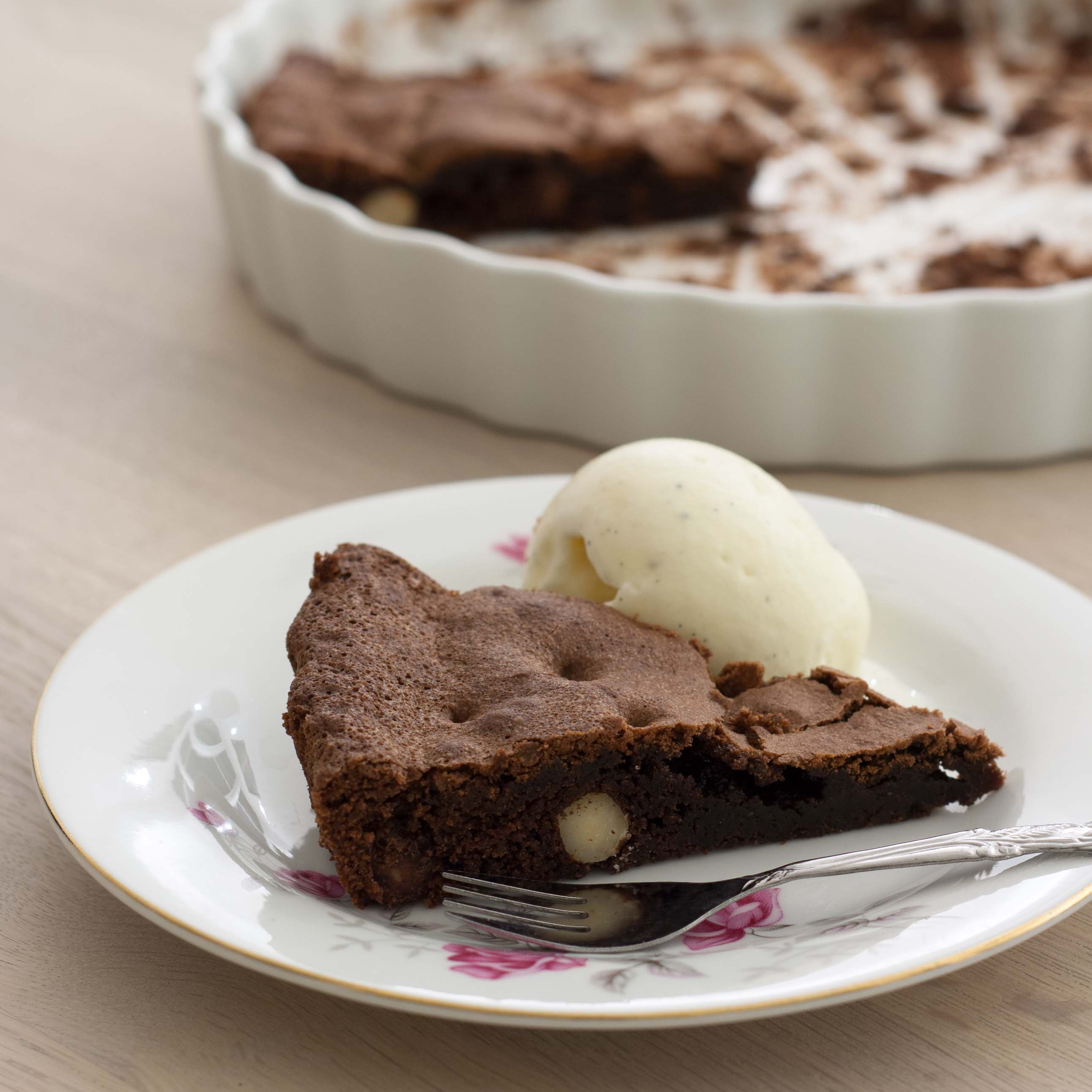 Recipe for Homemade Chocolate and Nougat Cake with whole Hazelnuts