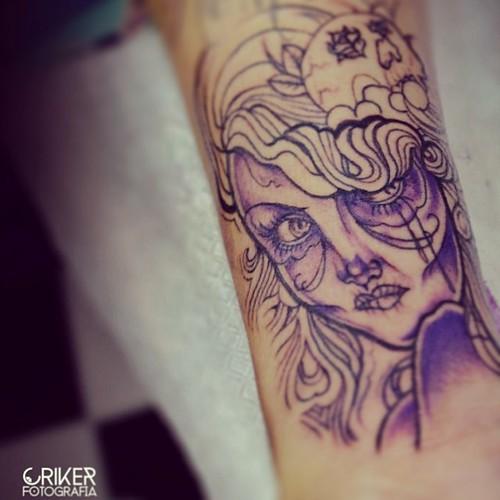 #criker #tattoo #process #art #life #line #color #purple #art #inked #woman #sexy #pretty