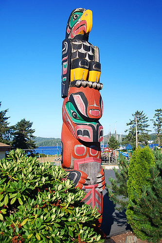 Totem Pole in Port Hardy, North Vancouver Island, British Columbia, Canada