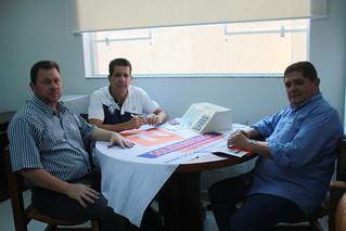 Fernando Coelho, pré-candidato a federal, David Martins, presidente estadual e Paçoca