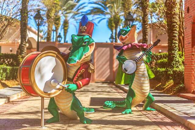 Alligators Playing a Tune at Disney's Port Orleans French Quarter