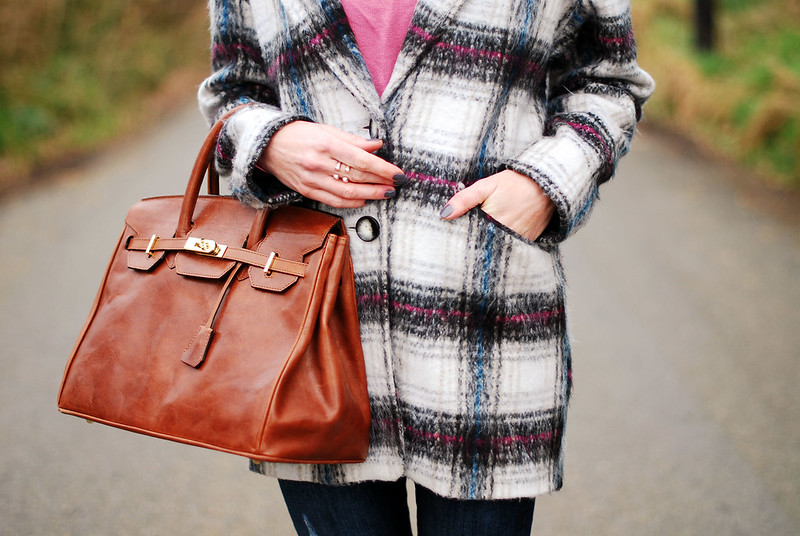 Maxwell Scott Birkin-style bag & check coat