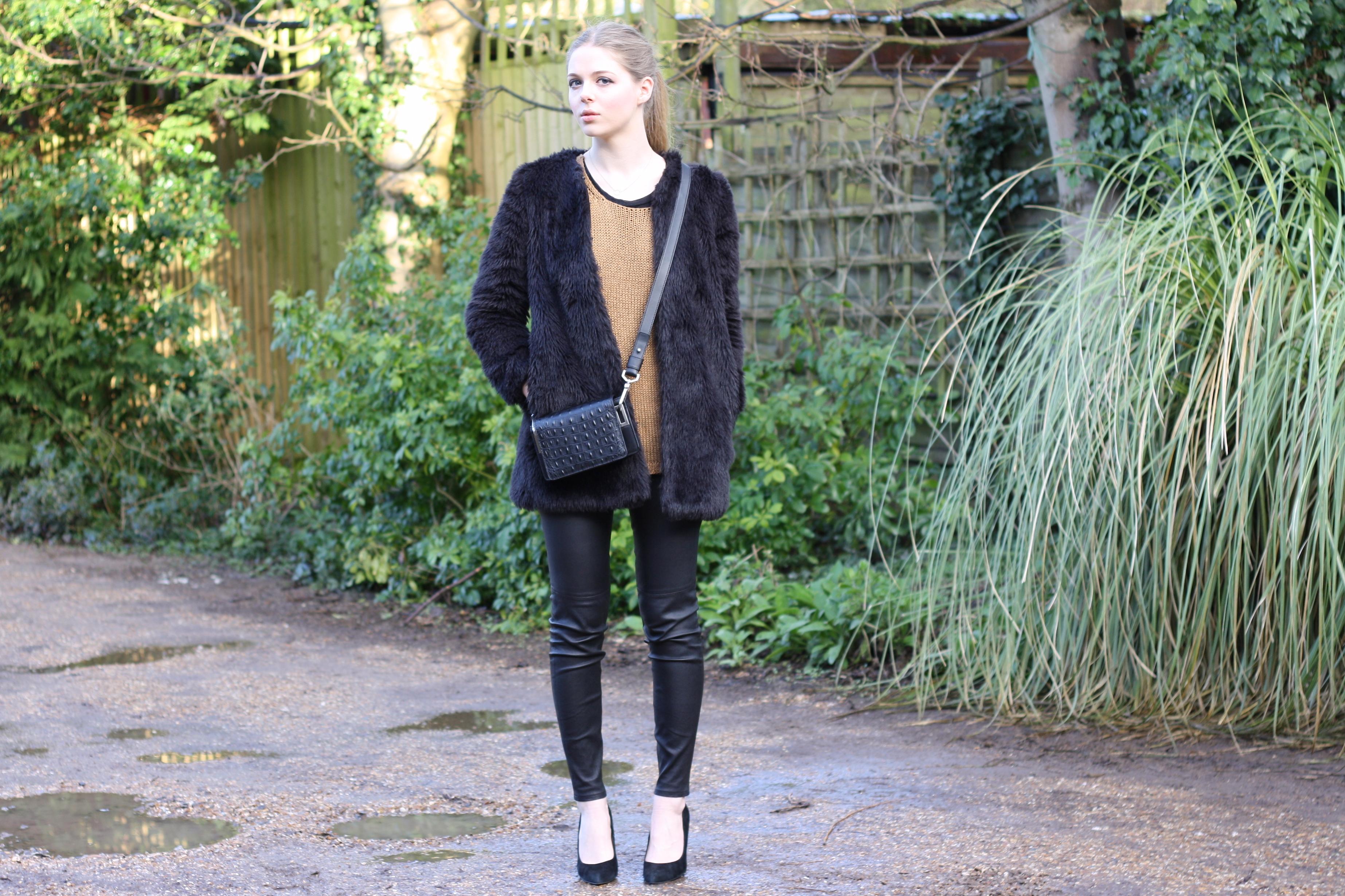 Zara black furry coat