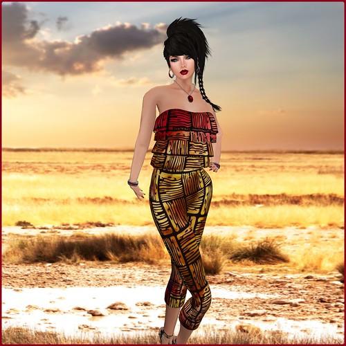 [AMARELO MANGA] - Jumpsuit Teresa [Printed] - [Batik 01] by Orelana resident ♛ MM Luxembourg 2014 ♛