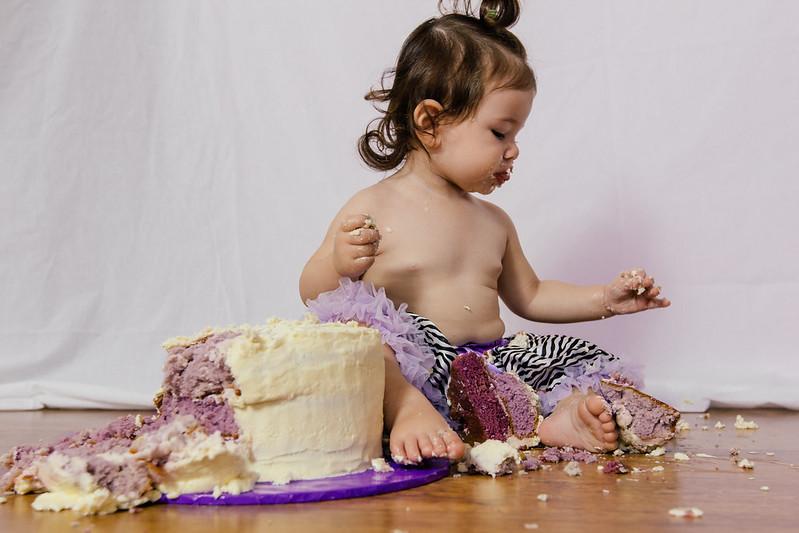 Little girl in zebra & purple pettiskirt with smash cake