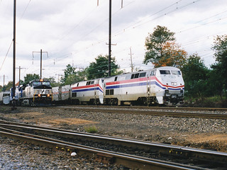 Amtrak P42s passing NS Train in Newark, DE