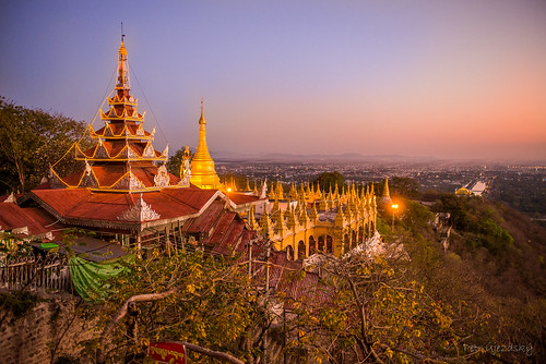 sunset gold pagoda myanmar mandalay