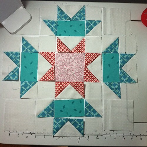 do.Good Stitches block for March. Color scheme is cool greens, cool pinks, teal blues, red, and little yellow. Not sure how much I like my red/pink combo, but I think it'll work with the other blocks. #dogoodstitches #lovecircle