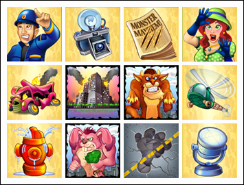 free Monster Mayhem slot game symbols