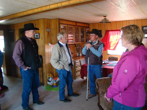 (From left to right) Dan Whetham, FSA district director, Scuse, Rausch and Della Meder discuss the hardships faced by ranchers who were hit by the Atlas blizzard.
