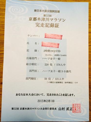 2015木津川マラソン完走証