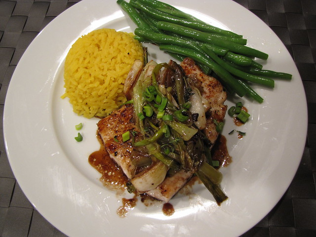 Mahi Mahi with Honey Balsamic Spring Onions