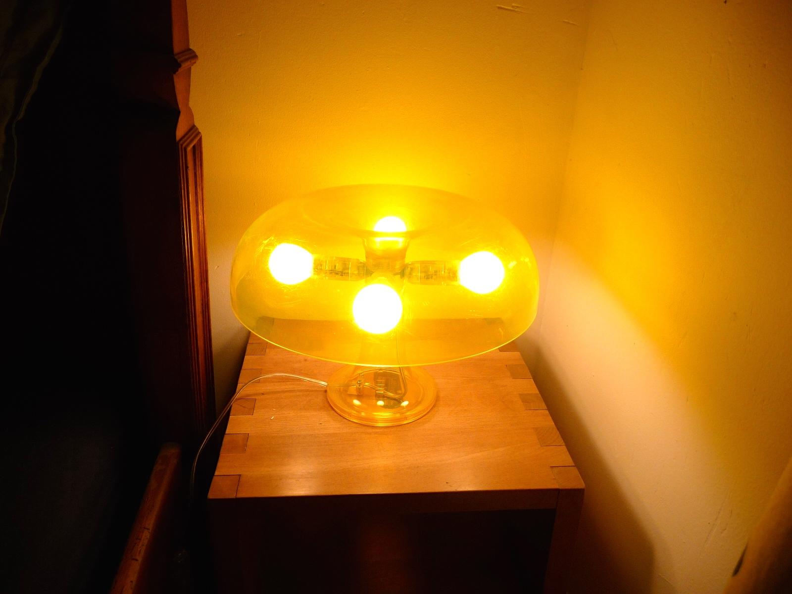 Lampe table artemide nessino jaune transparent ebay for Lampe de table jaune