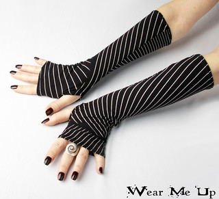 Black and White Striped fingerless gloves - Arm Warmers,