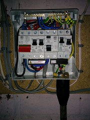 [Garage consumer unit with supply armoured cable fitted]