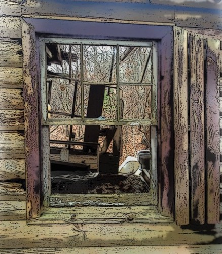 art abandoned window bed cabin bath view decay rustic logs shutter collapsed