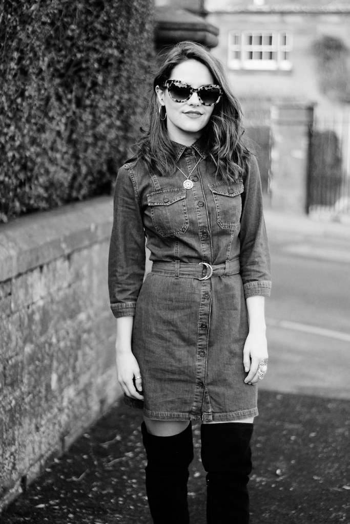 Miss Selfridge blue denim shirt dress 4