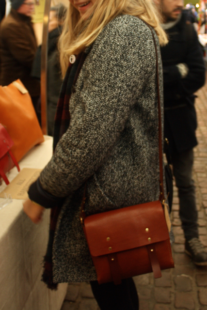 Brown satchel for sale at the Greenwich Market, Greenwich