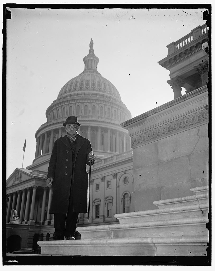 Identified! [William Andrew Johnson, former slave to former President Andrew Johnson, who was presented with a silver handled cane by President Roosevelt on a visit to Washington in 1937. Photo taken on steps of U.S. Capitol, Washington, D.C.] (LOC)