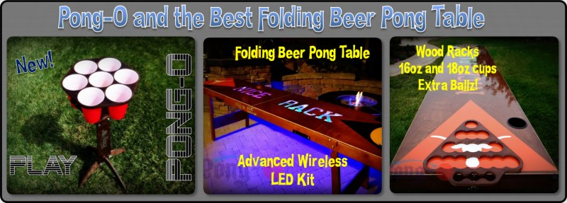 best beer pong table. Custom all wood folding tables for the tailgate parties. Pong-O is a new game based on beer pong and bag toss.