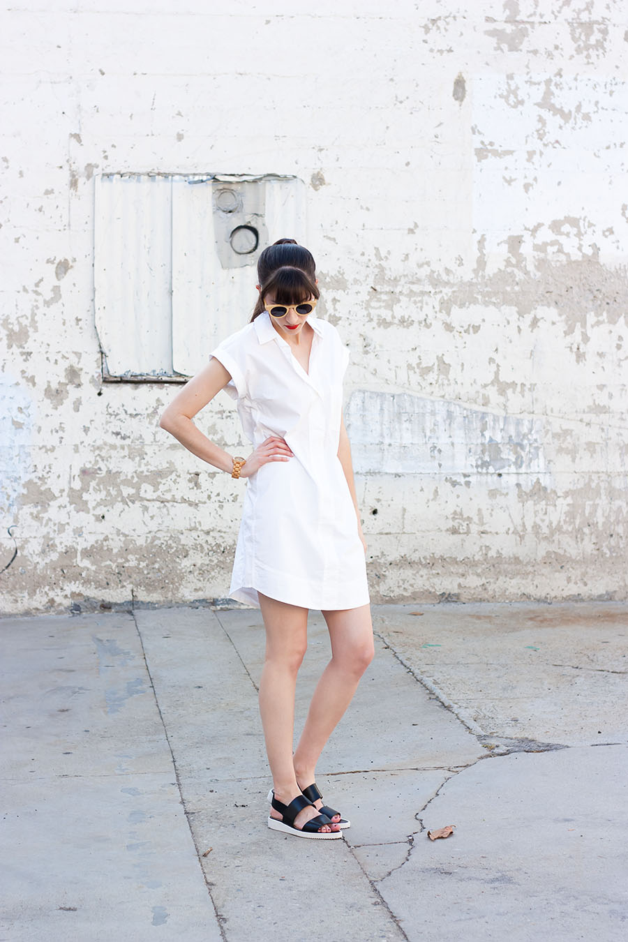 Short Sleeve Cotton Shirtdress, J.Crew, Everlane, Minimalist Outfit, Black and White Outfit