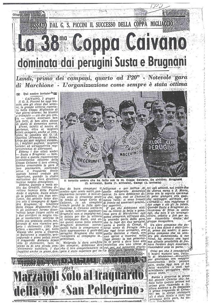 Coppa Caivano 1959 vinta da Susta - Landi quarto classificato