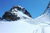 Silvretta, Skitour Piz Buin, 3312 m, Buinlücke und Gipfelaufbau des Piz Buin. Foto: Günther Härter.