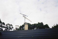 TV antenna, and overcast sky
