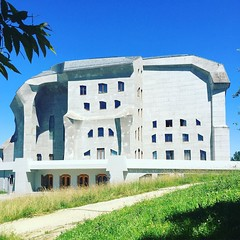 goeteanum is the heart center of anthroposophy worldwide, with curved concrete aortas for waldorf classes and paraphenalia of rudolf steiner...