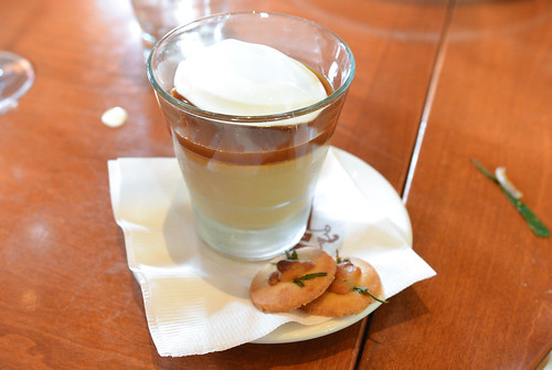 Butterscotch budino, sea salt, rosemary pine nut cookies