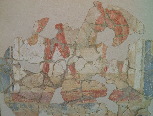 Fresco from the luxurious latrine of the Baths of the Wrestlers depicting discus-throwers, 3rd century AD, Saint-Romain-En-Gal