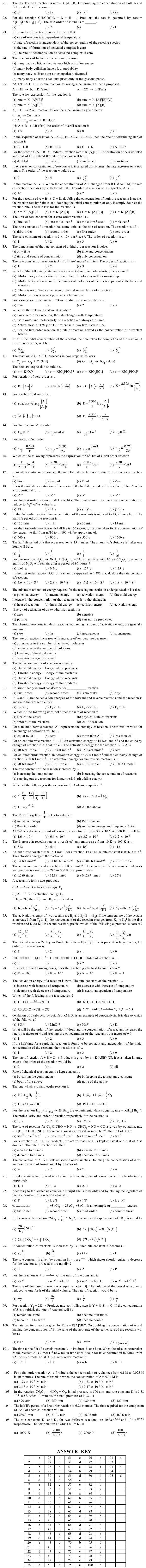 JEE and AIPMT Question Bank Chemistry - Chemical Kinetics