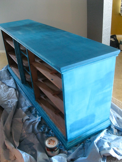 teal dresser in process