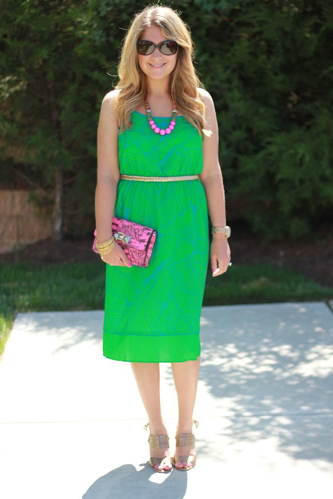 Loft Vivid Fern Print Dress